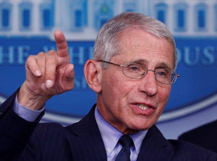 Dr. Anthony Fauci, director of the National Institute of Allergy and Infectious Diseases, addresses the daily coronavirus response briefing at the White House in Washington, U.S., April 1, 2020. REUTERS/Tom Brenner
