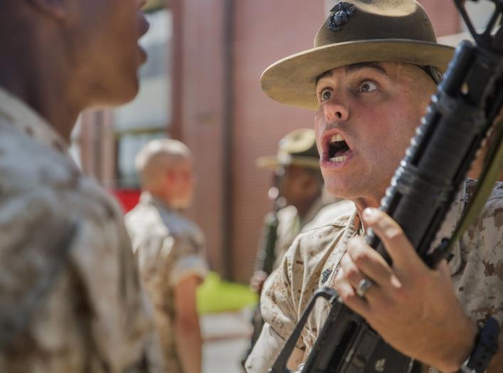 Drill Instructor Sgt. Jonathan B. Reeves inspects and disciplines recruits with Platoon 1085, Charlie Company, 1st Recruit Training Battalion, at Marine Corps Recruit Depot Parris Island, South Carolina.