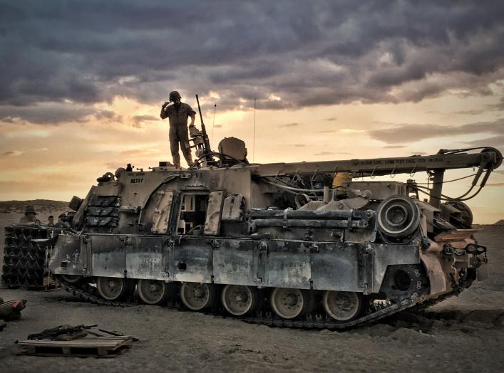 Marines with 4th Combat Engineer Battalion, 4th Marine Division, prepare their M88A2 Hercules Recovery Vehicle for departure before conducting a Tank Mechanized Assault Course during Integrated Training Exercise 4-18 at Marine Corps Air Ground Combat Cent