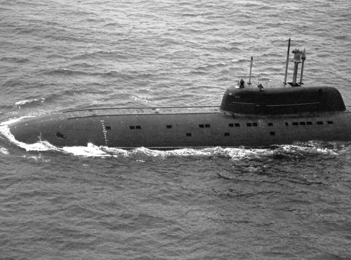Aerial port view of a Soviet Sierra class nuclear-powered attack submarine K-239 underway. Photo Courtesy of Royal Norwegian Air Force.