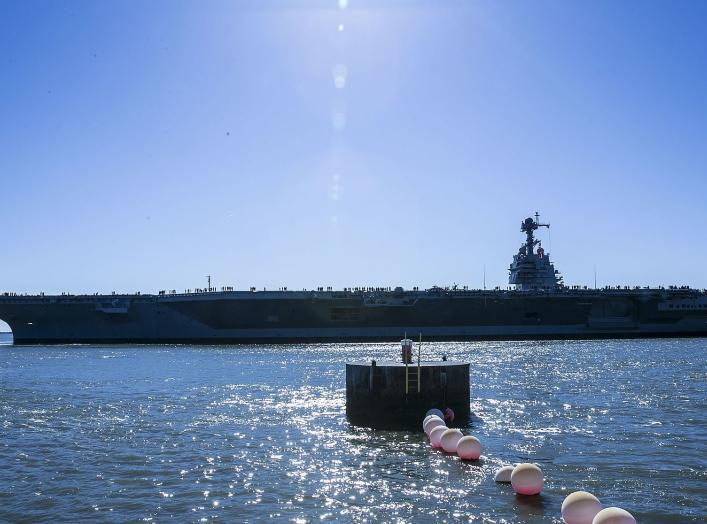 Pre-Commissioning Unit Gerald R. Ford (CVN 78) departs Huntington Ingalls Industries Newport News Shipbuilding for builder's sea trials off the coast.