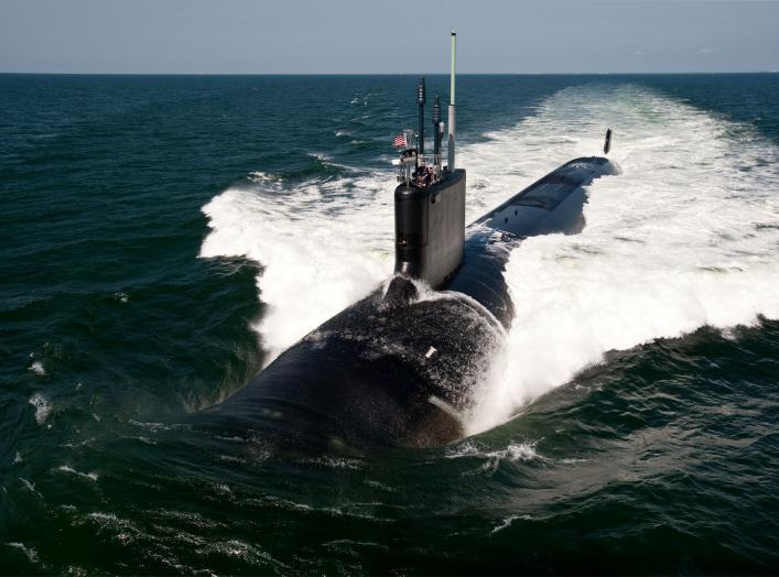 The Virginia-class attack submarine USS California (SSN 781) underway during sea trials.