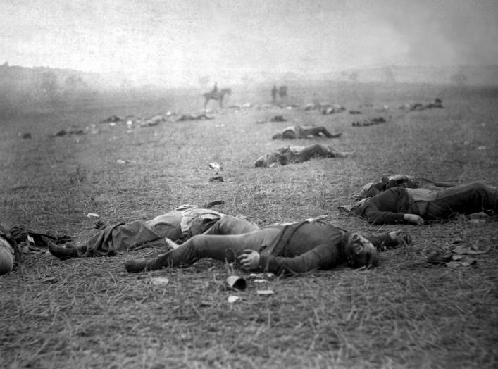 Incidents of the war. A harvest of death, Gettysburg, PA. Dead Federal soldiers on battlefield. Negative by Timothy H. O'Sullivan. Positive by Alexander Gardner.