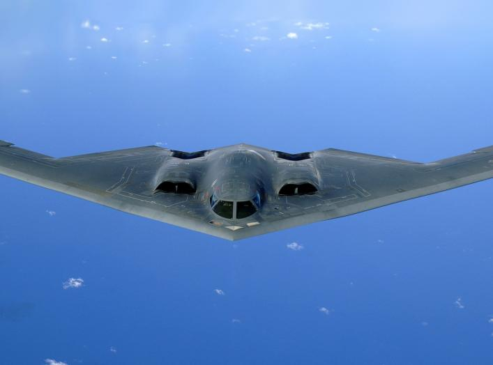 A B-2 Spirit soars after a refueling mission over the Pacific Ocean on Tuesday, May 30, 2006. The B-2, from the 509th Bomb Wing at Whiteman Air Force Base, Mo., is part of a continuous bomber presence in the Asia-Pacific region.