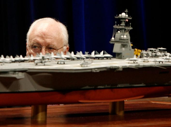 U.S. Vice President Dick Cheney is pictured behind a scale model of the new U.S. Navy aircraft carrier at the naming ceremony of the USS Gerald R. Ford at the Pentagon in Washington, January 16, 2007. The nuclear-powered aircraft carrier CVN 78, which Che