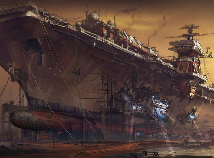 Modified aircraft carrier. Jack Cong.
