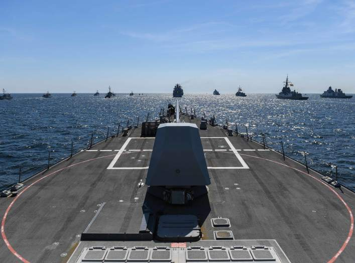 The guided-missile destroyer USS Bainbridge (DDG 96) participates in a photo exercise during exercise Baltic Operations (BALTOPS) in the Baltic Sea, June 9, 2018.