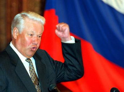 Russian President Boris Yeltsin gestures as he speaks in Moscow in this September 1995 file photo. Yeltsin has died, a spokeswoman for the Kremlin said on April 23, 2007. REUTERS/Stringer (RUSSIA)