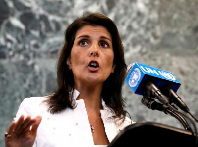 U.S. Ambassador to the United Nations Nikki Haley speaks at a press briefing at U.N. headquarters in New York City, New York, U.S., July 20, 2018. REUTERS/Brendan McDermid/File Photo