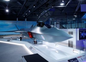 Britain's defence minister, Gavin Wiliamson (UNSEEN), unveiled a model of a new jet fighter, called 'Tempest' at the Farnborough Airshow, in Farnborough, Britain July 16, 2018. REUTERS/Peter Nicholls/File Photo