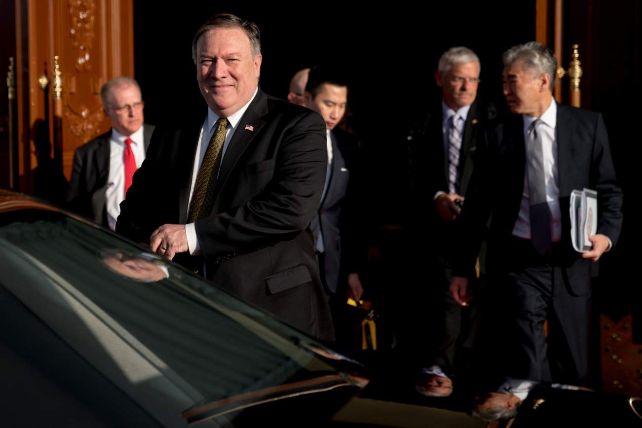 U.S. Secretary of State Mike Pompeo departs his guest house in Pyongyang, North Korea, Saturday, July 7, 2018, to call President Donald Trump on a secure phone. Pompeo is on a trip traveling to North Korea, Japan, Vietnam, Abu Dhabi, and Brussels. Andrew