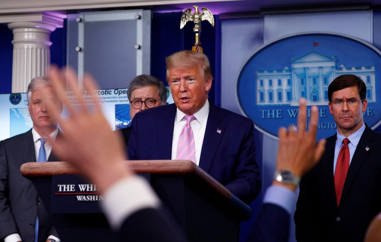 U.S. President Donald Trump answers questions after announcing U.S. naval moves against Venezuela and narcotic traficking....during the daily coronavirus response briefing at the White House in Washington, U.S., April 1, 2020. REUTERS/Tom Brenner