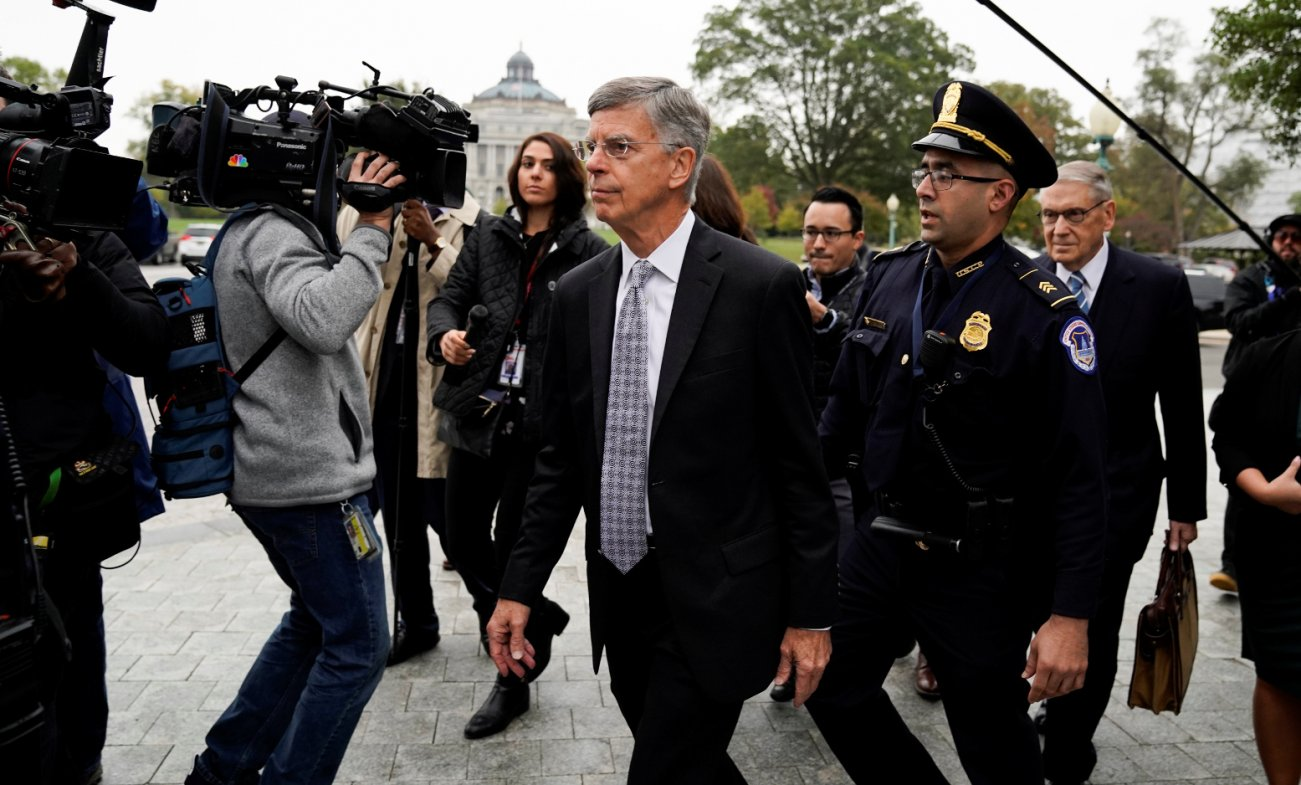 Acting U.S. ambassador to Ukraine Bill Taylor arrives to testify at a closed-door deposition as part of the U.S. House of Representatives impeachment inquiry led by the House Intelligence, House Foreign Affairs and House Oversight and Reform Committees
