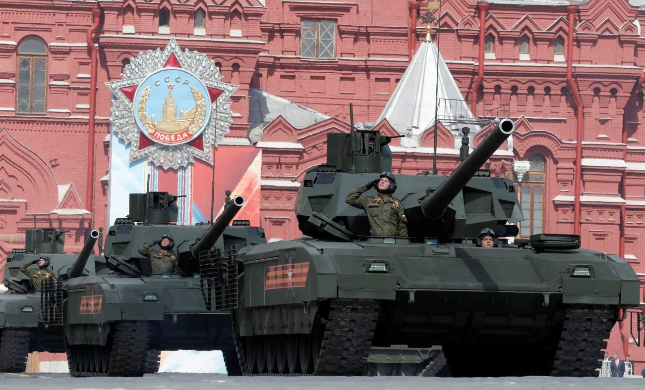 Russian T-14 tanks with the Armata Universal Combat Platforms drive along Red Square during a rehearsal for the Victory Day parade, marking the 71st anniversary of the victory over Nazi Germany in World War Two, in central Moscow, Russia, May 7, 2016.
