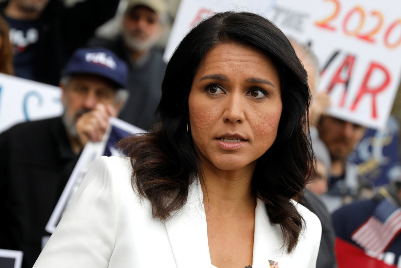 U.S. Democratic Presidential candidate Tulsi Gabbard greets supporters after filing her declaration of candidacy papers to appear on the 2020 New Hampshire primary election ballot at the State House in Concord, New Hampshire, U.S., November 5, 2019.